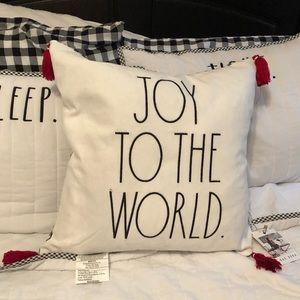 NWT Rae Dunn Joy to the World Pillow